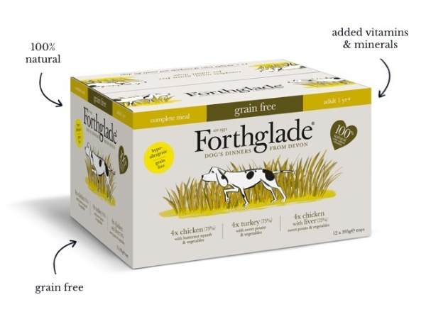 Forthglade Complete GRAIN FREE Adult Poultry Multipack 12 x 395g turkey,  chicken & chicken with liver